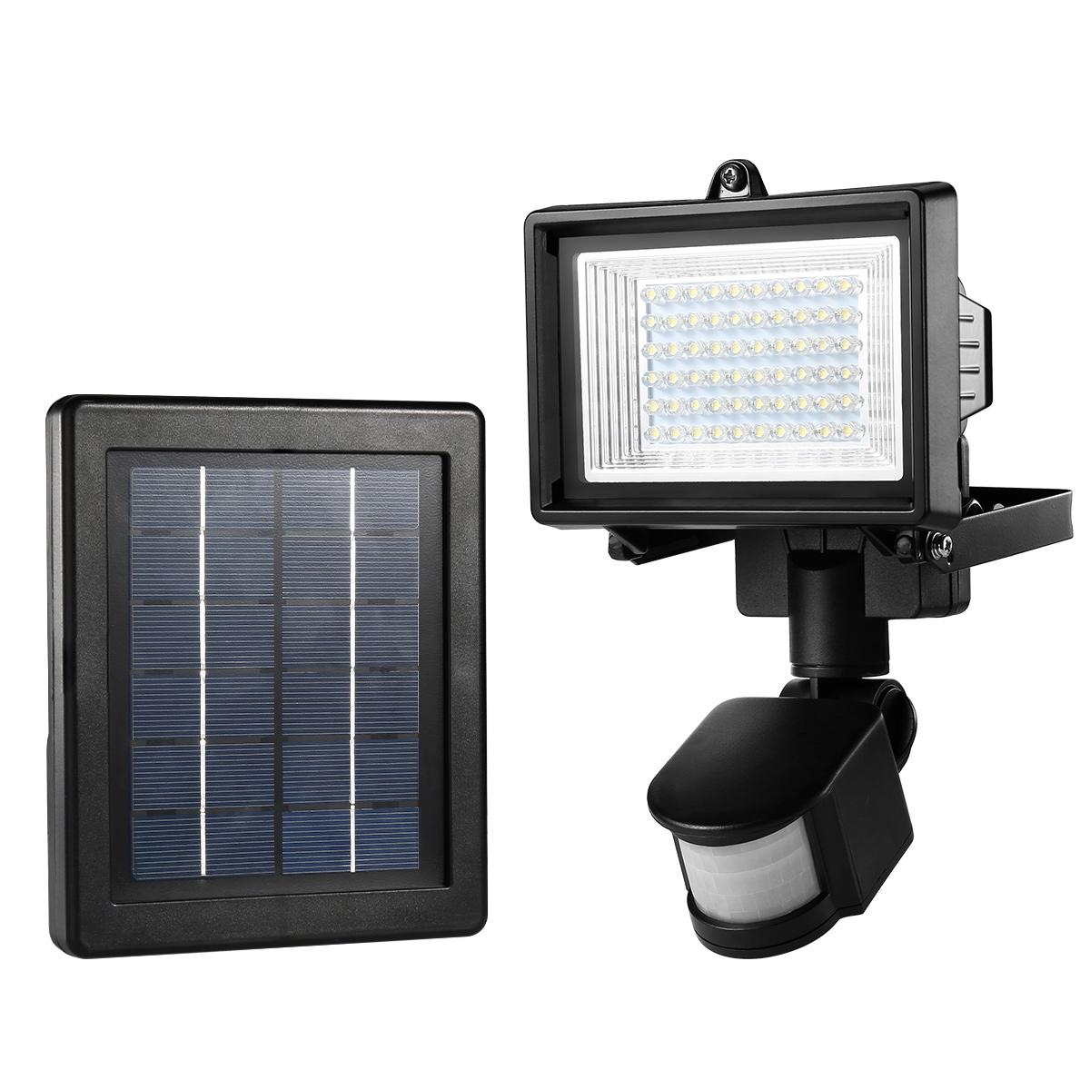 LED Solarleuchten mit Bewegungsmelder, 160lm, wiederaufladbar, 60 LEDs, Wasserdicht für Veranda/Rasen