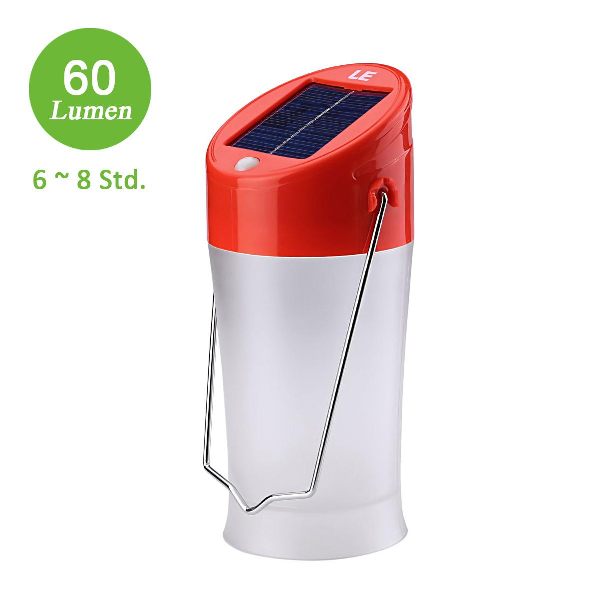 LED Solarlaterne, 50-60lm Campinglampe, Wiederaufladbar und Portable, 2 Modi, USB stecker, Kaltweiß