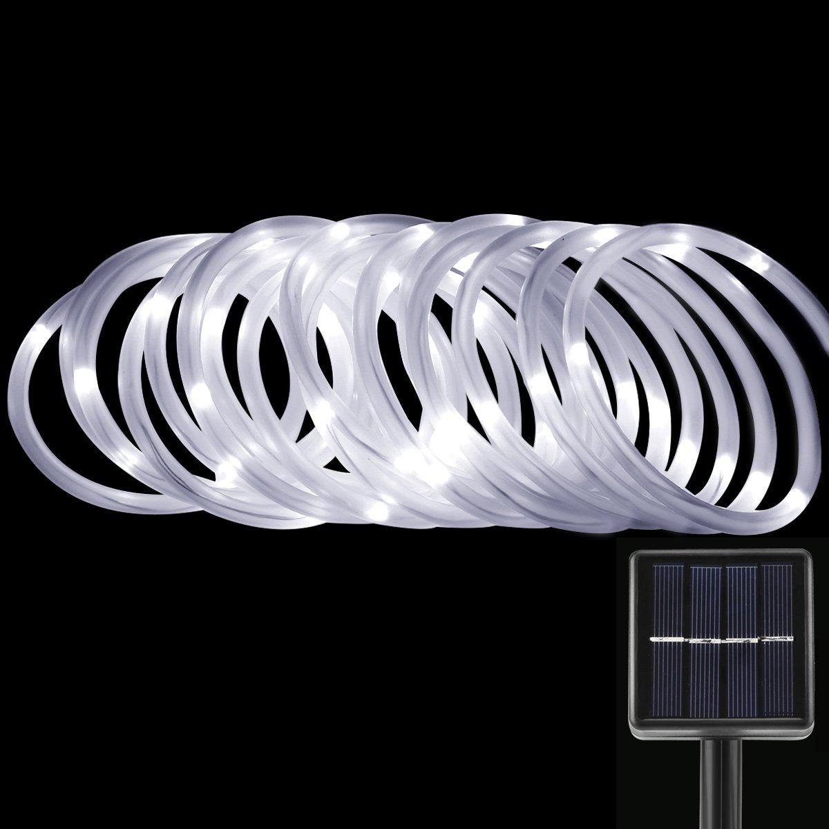 LED Solarlichterkette, Kaltweiß, 5 Meter, Wasserdicht, 50 LEDs, 1,2V, tragbar, mit Lichtsensor, Außenlichterkette