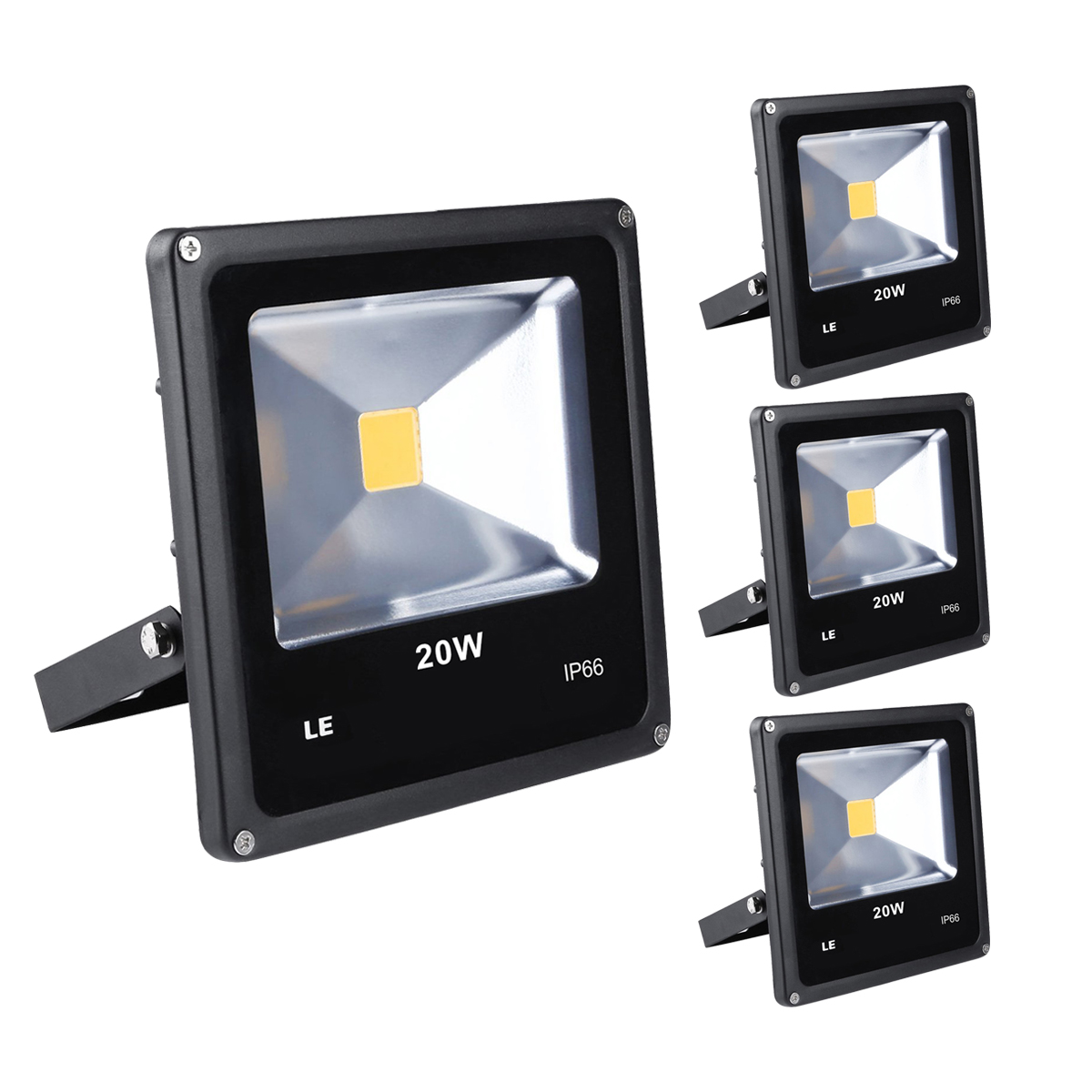 [Bündel] LED Strahler 20W, 1500lm, ersetzt 200W Halogenlampe, Kaltweiß, Wasserdicht IP66, Außenleuchten, Signallampe, 3er Set