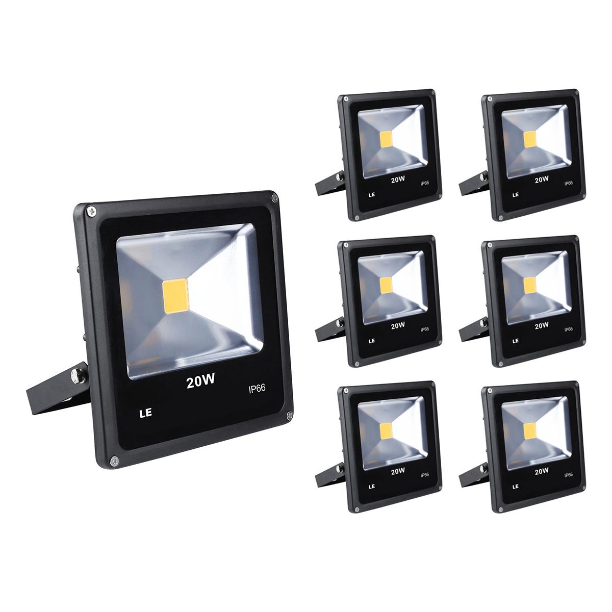 [Bündel] LED Strahler 20W, 1500lm, ersetzt 200W Halogenlampe, Kaltweiß, Wasserdicht IP66, Außenleuchten, Signallampe, 6er Set