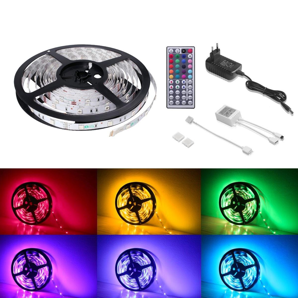 12V LED Lichtleiste RGB Set, Dimmbar, Wasserdicht, 5050 SMD, 5M Indirekte Beleuchtung