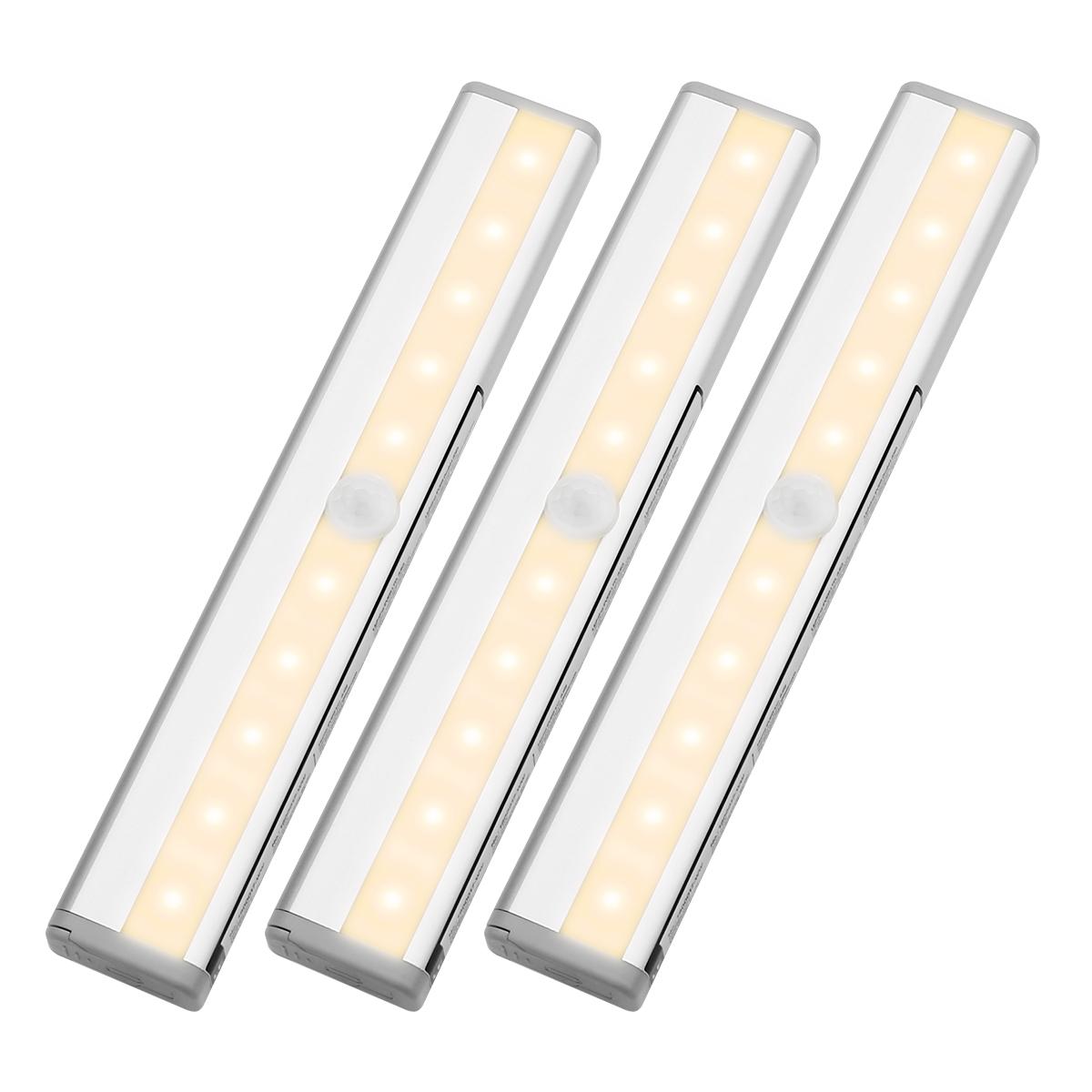 LED Unterbauleuchte, PIR Bewegungsmelder und Lichtsensor, 40lm Küchenlampen, Batteriebetrieben, ideal für Schrank, Küche, Gang usw., Warmweiß, 3er Set