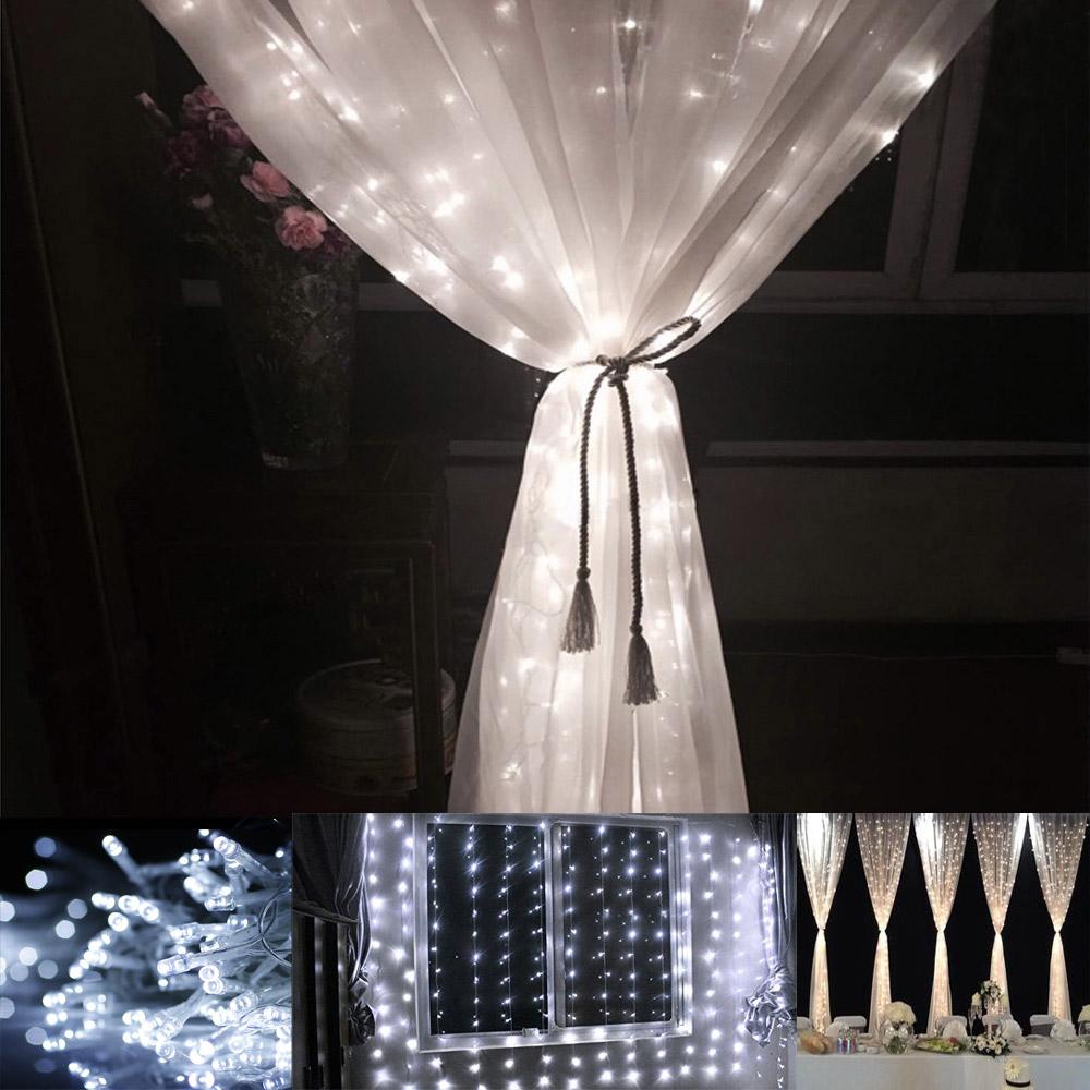 3M x 3M LED Lichtervorhang, 8 Modi, 306 LEDs, Lichterkette, Kaltweiß, Weihnachtsbeleuchtung/ Hochzeit