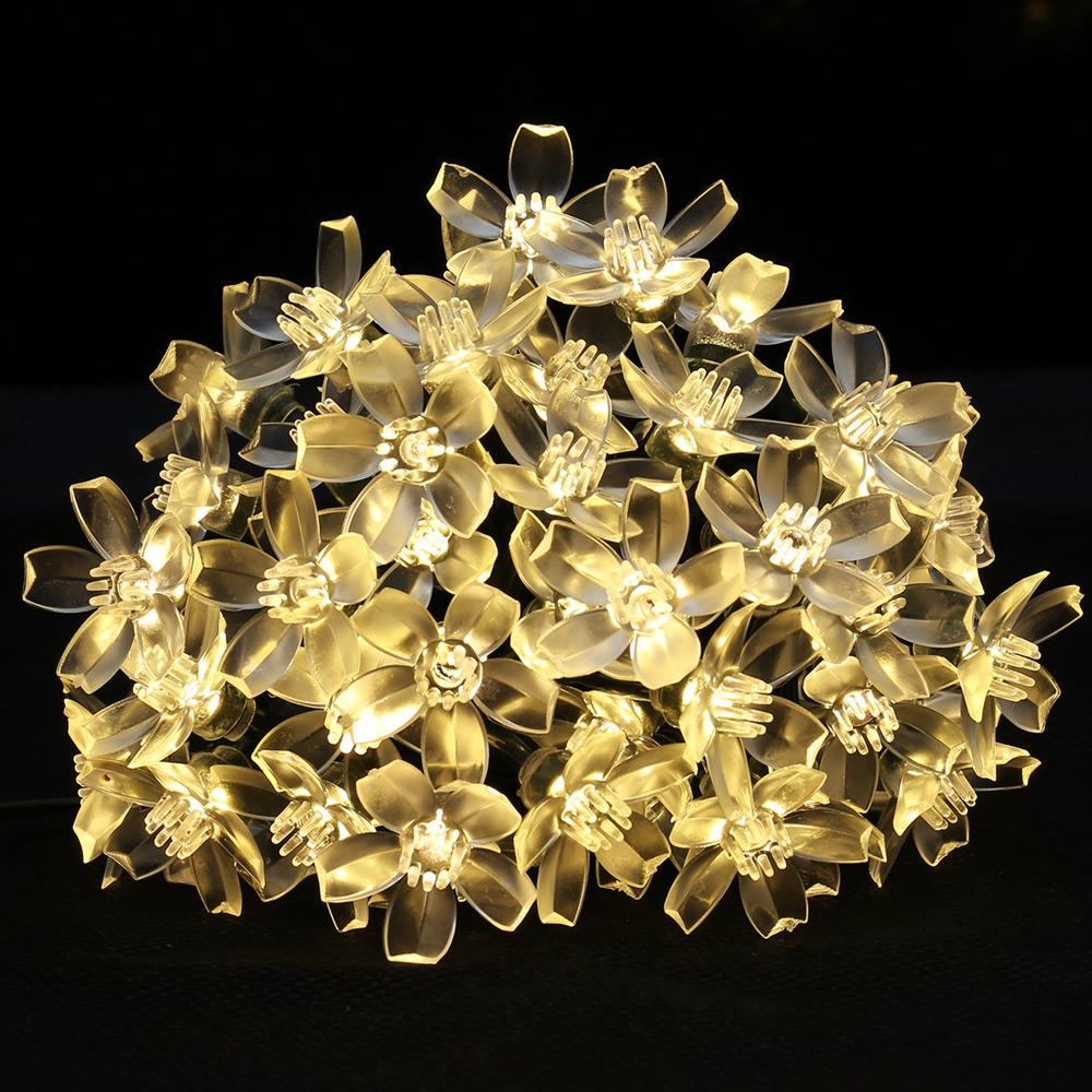 Warmweiß Solar Lichterkette Blummen, 5M, Wasserdicht, 1,2V, Lichtsensor, Warmweiß, Weihnachtsbeleuchtung
