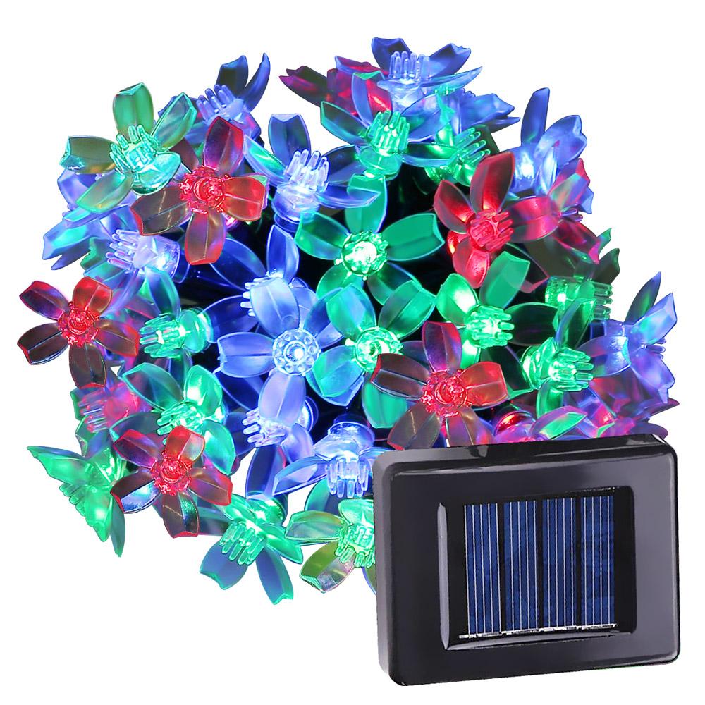 RGB Solar Lichterkette, 7M, Wasserdicht, 1,2V Lichtsensor, Weihnachtsdekoration für Garten