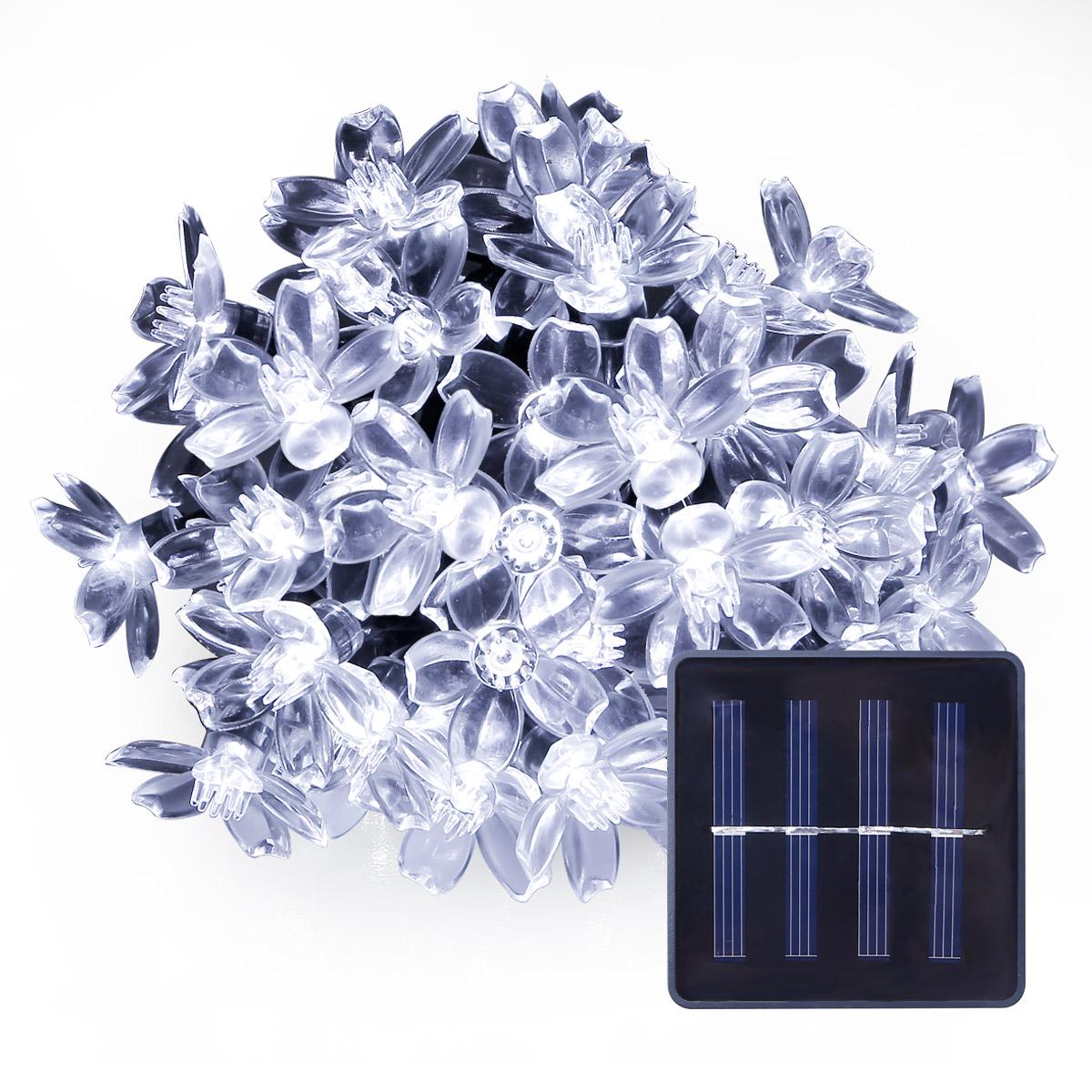 Kaltweiß Solar Lichterkette,5M, Wasserdicht, 1,2V Lichtsensor, Weihnnachtsbeleuchtung