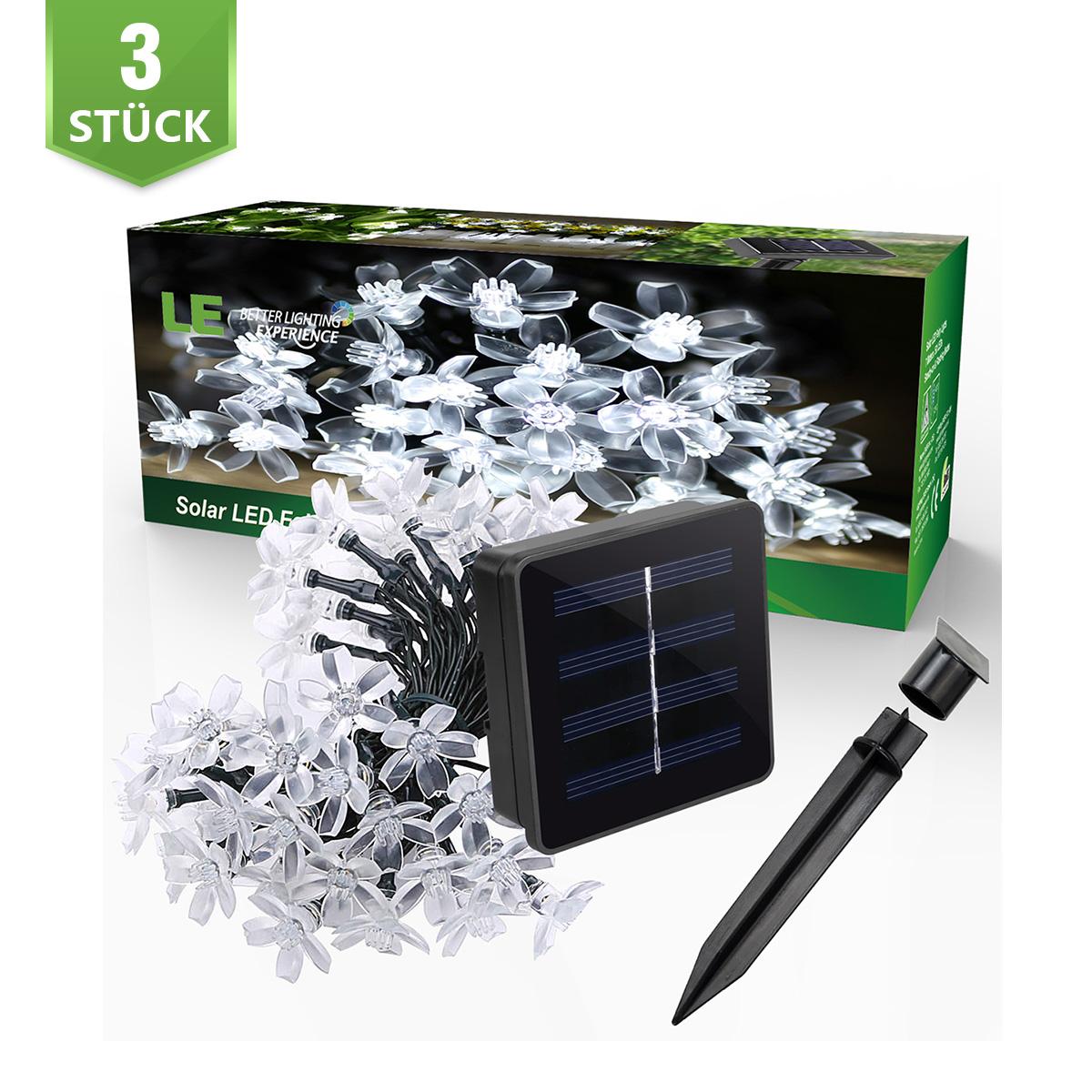 [Bündel] Warmweiß Solar Lichterkette Blummen, 5M, Wasserdicht, 1,2V, Lichtsensor, Warmweiß, Weihnachtsbeleuchtung, 3er Set