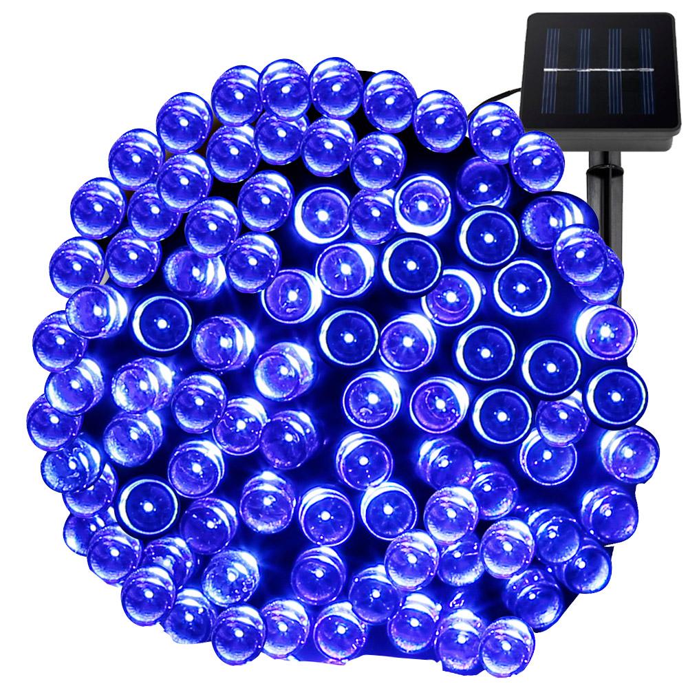 Blau Solar Lichterkette, 15M, Weihnachtsbeleuchtung, LED Feuerwerk, mit Lichtsensor, Wasserdicht