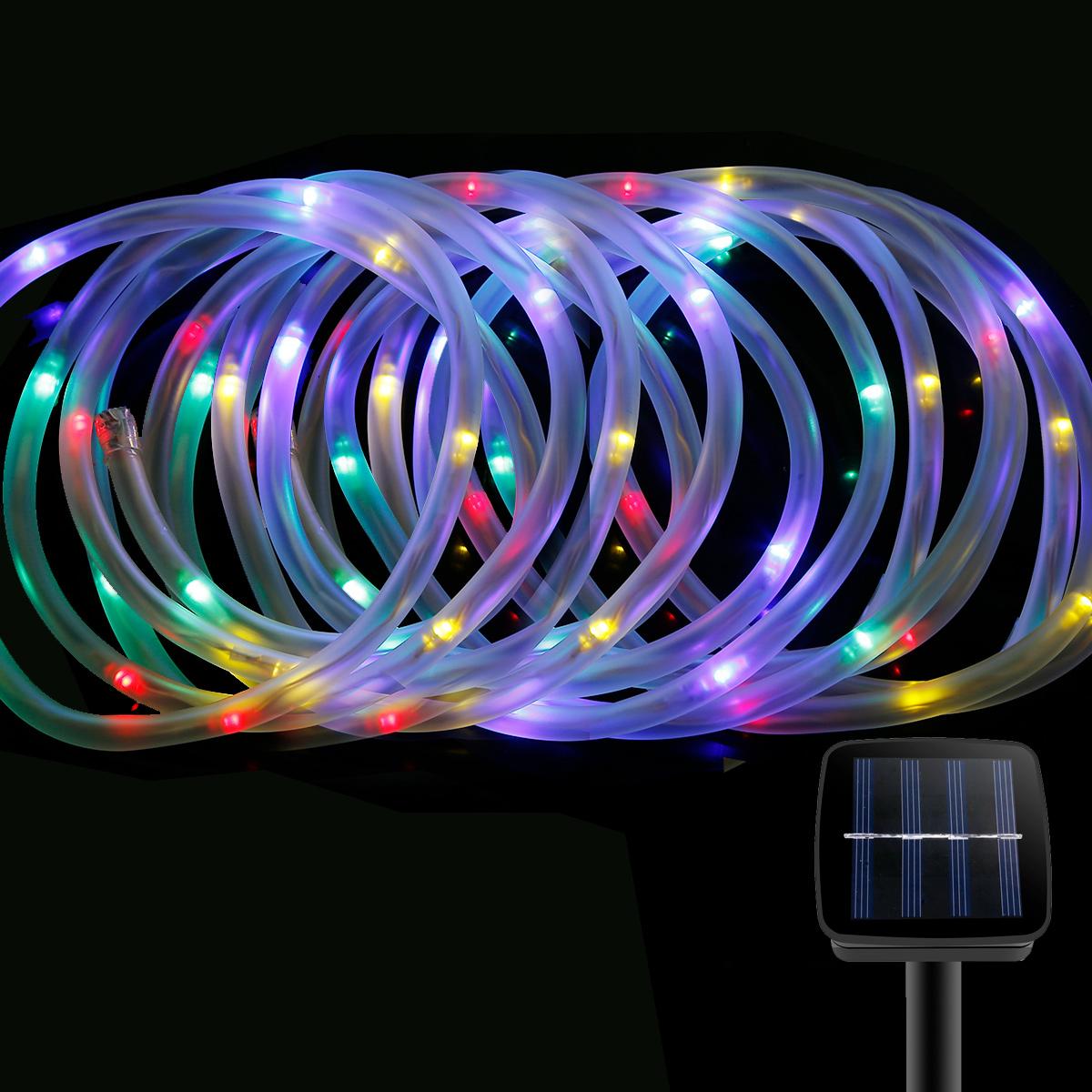 LED Solar Lichterkette RGB, 5M mit Lichtsensor, Weihnachtsbeleuchtung, Wasserdicht, Portable